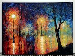 Eső áztatta utcácska - fantasztikus kortársfestmény ( 30 x 40, olaj, körül festett )