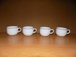 Francia kék szélű fehér tejüveg kávéscsésze készlet 4 db (1/K)