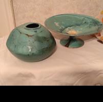 Kerámia kavics, türkiz / váza és tál