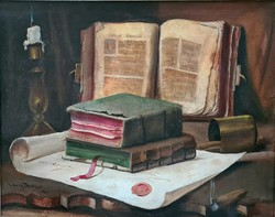 Lakos Alfréd: Csendélet könyvekkel