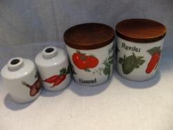 Gerold porcelán zöldséges fűszertartó holmik 2+2
