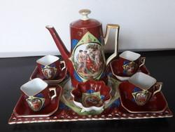 Gyönyörű antik 1931-es Victoria porcelán komplett kávéskészlet