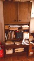 Mozaik szekrénysor darabja - Barna szekrény felül  és alul 2-2 ajtós, középen polcos