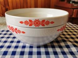 Alföldi porcelán piros népi mintás kerek tál 23 cm átmérőjű
