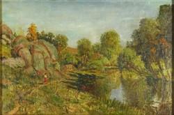 1F454 XX. századi magyar festő : Piros szoknyás nő vízparton