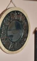 Retro ötvös iparművészeti kerek rézkertes horoszkópos kis falitükör hibátlan