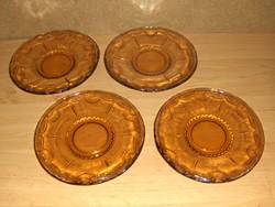 Antik borostyán üveg kistányér készlet 4 db (5/d)