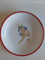 Lampart tál, 24 cm kínáló, paraszti dekoráció, zománcos pipacsos tál