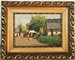 Harencz János (1928 - ) Tanya udvar c. olajfestménye EREDETI GARANCIÁVAL