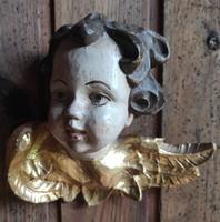 Fa Angyal, Antik festett lap arany putto Angyalka, egyházi stílusú ünnepi jellegű faragás!Feng-Shui