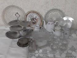 Krendenc-ürítés,  20 db porcelán, kristály, üveg, kerámia, fém, ezüstözött konyhai eszköz