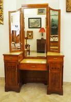 Szecessziós fésülködőasztal, háromosztatú tükörrel