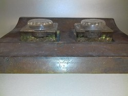Antik nagy méretű bronz tintatartó kalamáris üveg betétekkel patinás eredeti állapotban