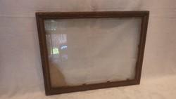 Régi üvegezett fa képkeret , falc 25x33 cm