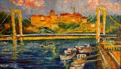 Vén jelzéssel Erzsébet híd a Budai várral