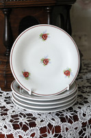 Rózsás vintage süteményes tányérok 5 db