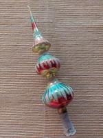 Régi üveg karácsonyfadísz színes csúcsdísz retro üvegdísz 29 cm