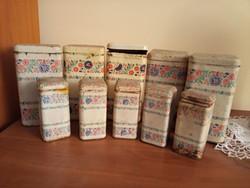 10 darab régi lemez, pléh fűszeres doboz 2 méretben
