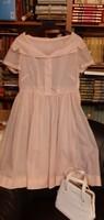 Több mint 70 éves gyönyörűséges női ruha, fehér retiküllel - Nagyi hagytékából!