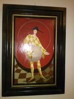 Kabanov Alexander Bánatos bohóc olaj-fa 18x29 cm