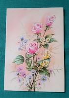 Régi virágos képeslap
