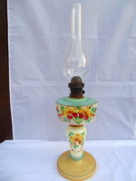 Antik nagyméretű szakított üveg petróleum lámpa