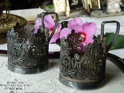 Old marked metal ornate glass holder, 2 pcs