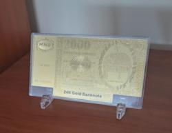 2000 Forint, 24 kt aranyozott bankó tartóban, certifikációval, íróasztal dísz