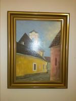 Klement Zoltán utcarészlet Vác olaj-fa 29x40 cm