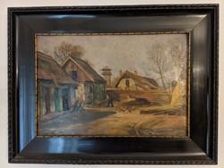 Egerváry Potemkin Ágost Tanyaudvar olaj,fa 46x35 cm