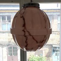Art deco krómozott mennyezeti lámpa felújítva - különleges formájú márványozott rózsaszín búra