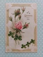 Régi képeslap 1910 rózsás lóherés levelezőlap