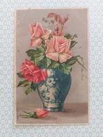 Régi képeslap 1909 rózsás levelezőlap