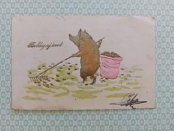 Régi újévi képeslap 1902 malacos levelezőlap