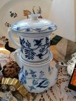 Ritkaság, antik hagymamintás emeletes teáskanna szűrökkel