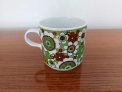 Retro Alföldi porcelán bögre zöld virágos teás csésze