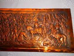 Honfoglalás Vörösréz lemez dombormű, relief.- aprólékos kézműves munka 31 X 17 cm