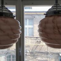 Art deco krómozott mennyezeti lámpa pár felújítva - márványozott rózsaszín búra