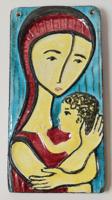 Retró - iparművészeti kerámia v. pirogránit falikép /anyaság ábrázolás