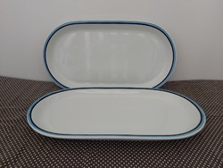 Alföldi dupla kék csíkos húsos tál ,38 cm kínáló