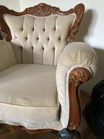 Neobarokk fotel Warrings faragott díszítéssel