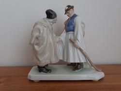 Herendi Búcsúzkodó juhászok porcelán figura szobor