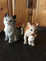 2 db cicás porcelán szobor macska cica kicsinyével
