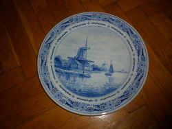 Régi kézzel festett delft porcelán  fali tányér