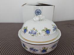 Hollóházi porcelán óriás kekszes, bonbonier 17.5 cm dobozában, Pannónia, szedres dekor