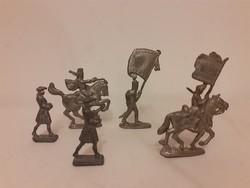 Ólomkatona, régi játék katonák, 5 db katona, huszár