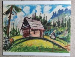 """Maszelka János """"Ábel kunyhó"""" 50x34 cm, pasztell rajz, 1994"""