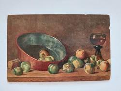 Régi képeslap konyhai csendélet levelezőlap gyümölcsök
