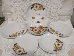 Csodaszép Icu mintás alföldi porcelán leveses és tányérok