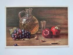 Régi képeslap 1913 konyhai csendélet levelezőlap gyümölcs szőlő bor